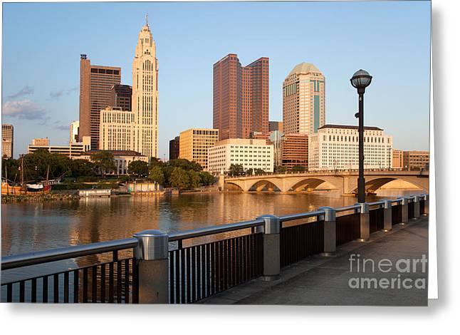 Downtown Genoa Greeting Cards - Columbus Ohio Skyline Greeting Card by Bill Cobb