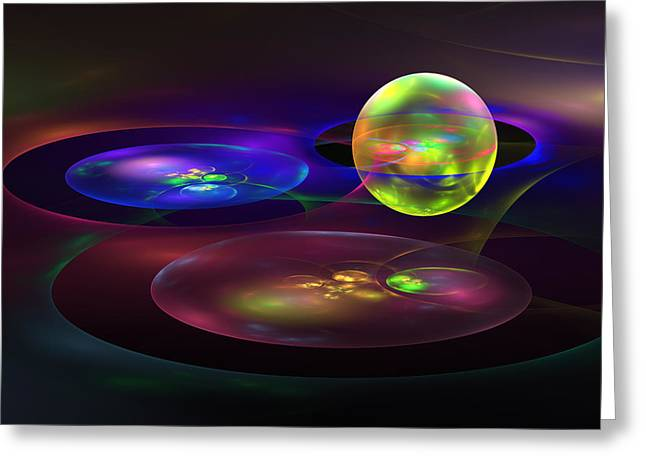 Disk Digital Art Greeting Cards - Computer Generated Sphere Abstract Fractal Flame Modern Art Greeting Card by Keith Webber Jr