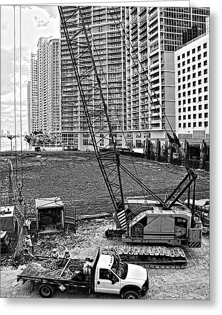Tower Crane Greeting Cards - Construction Site-2 Greeting Card by Rudy Umans