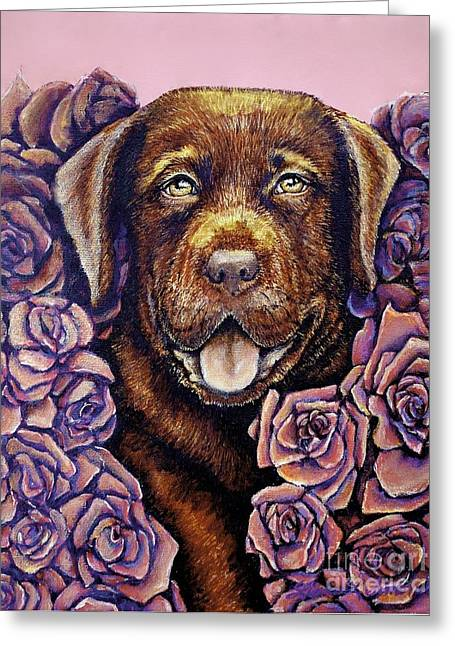 Chocolate Lab Greeting Cards - Cooper Greeting Card by Linda Simon