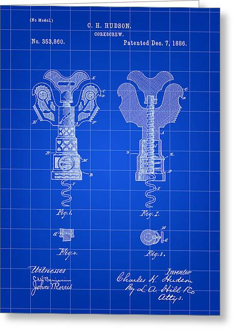 Sparkling Wines Digital Greeting Cards - Corkscrew Patent 1886 - Blue Greeting Card by Stephen Younts