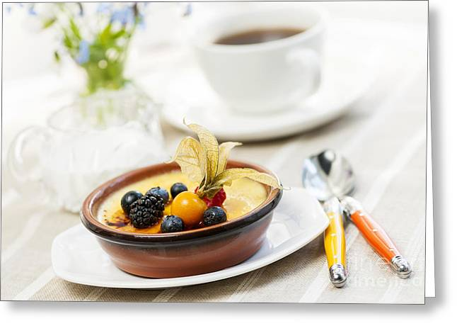 Portion Greeting Cards - Creme brulee dessert Greeting Card by Elena Elisseeva