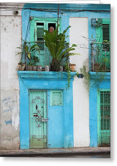 Cuba, Havana, Havana Vieja, Old Havana Greeting Card by Walter Bibikow