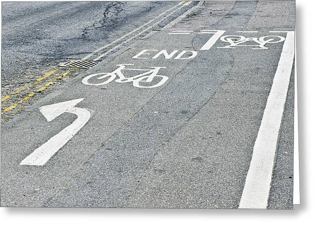 Asphalt Greeting Cards - Cycle path Greeting Card by Tom Gowanlock