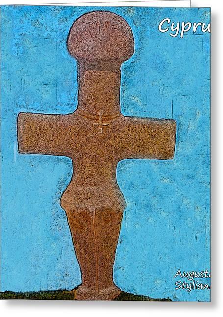 Byzantine Digital Art Greeting Cards - Cyprus Idol of Pomos Greeting Card by Augusta Stylianou