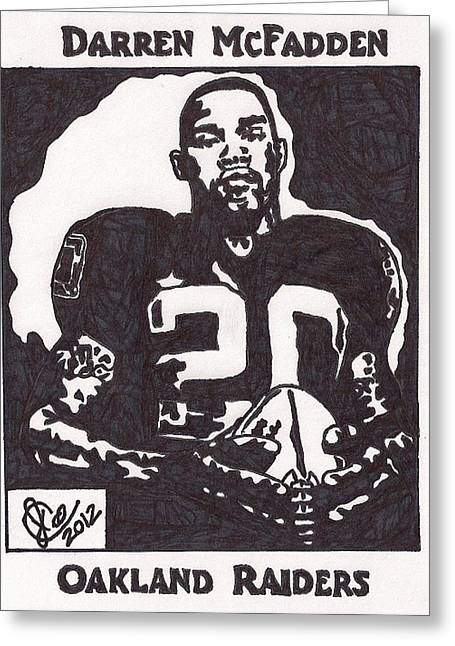 Darren Drawings Greeting Cards - Darren McFadden 2 Greeting Card by Jeremiah Colley