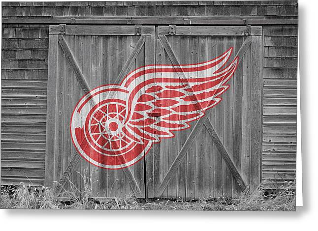 Skating Greeting Cards - Detroit Red Wings Greeting Card by Joe Hamilton