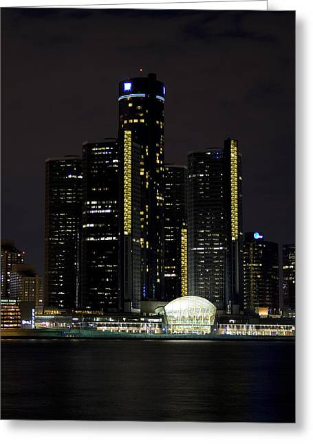 Renaissance Center Greeting Cards - Detroit Skyline at Night Greeting Card by Gary Marx