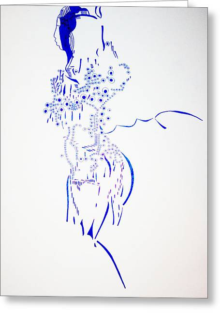 Corset Drawings Greeting Cards - Dinka Corset - South Sudan Greeting Card by Gloria Ssali