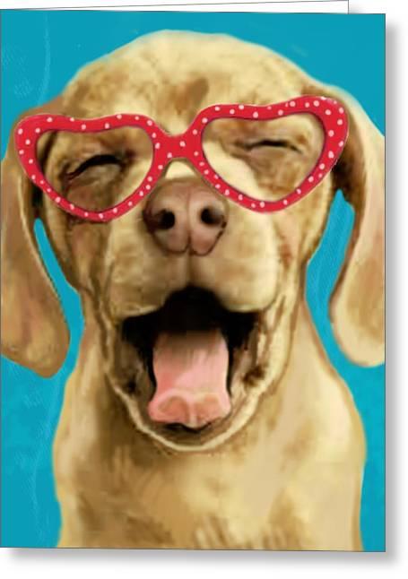 Dog Sketch Greeting Cards - Dog stylised pop modern art drawing sketch portrait Greeting Card by Kim Wang