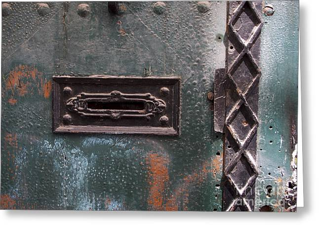 France Doors Greeting Cards - Door with peeling paint Greeting Card by Bernard Jaubert