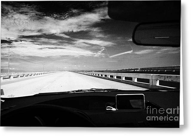 Mile One Greeting Cards - Driving Over New Seven Mile Marathon Bridge Along Us Route One Overseas Highway Florida Keys Usa Greeting Card by Joe Fox