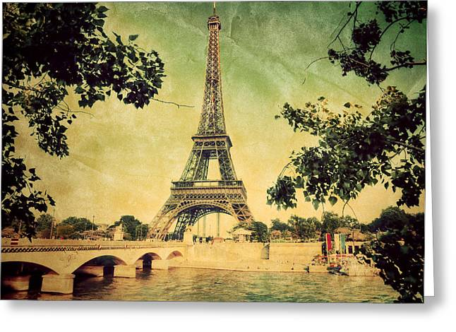 Famous Bridge Greeting Cards - Eiffel Tower and bridge on Seine river in Paris Greeting Card by Michal Bednarek