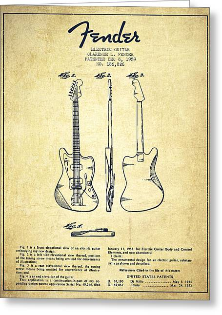 Bass Digital Art Greeting Cards - Electric Guitar Patent Drawing from 1959 Greeting Card by Aged Pixel
