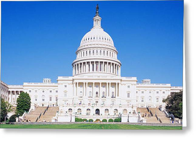 Legislation Greeting Cards - Facade Of A Government Building Greeting Card by Panoramic Images