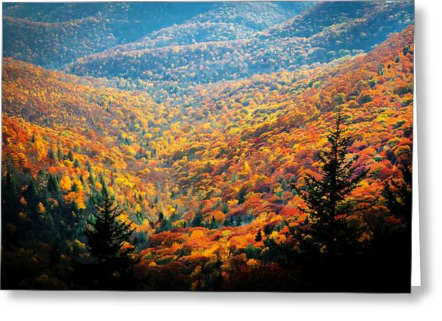 Gatlinburg Tennessee Greeting Cards - Fall Foliage Great Smoky Mountains Painted Greeting Card by Rich Franco