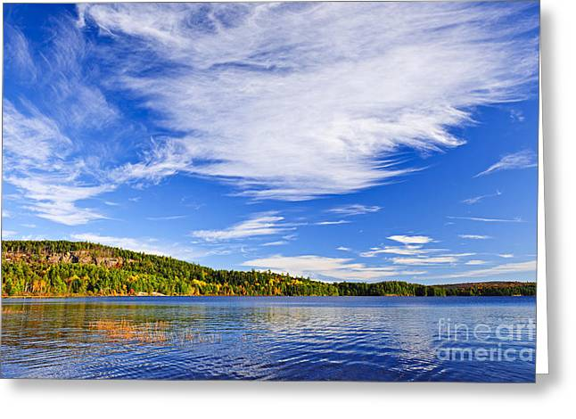 Blue Green Water Photographs Greeting Cards - Fall forest and lake Greeting Card by Elena Elisseeva