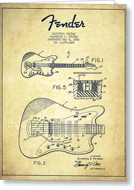 Tremolo Greeting Cards - Fender Electric guitar patent Drawing from 1966 Greeting Card by Aged Pixel