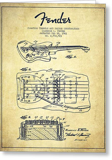 Bass Digital Art Greeting Cards - Fender Floating Tremolo patent Drawing from 1961 - Vintage Greeting Card by Aged Pixel
