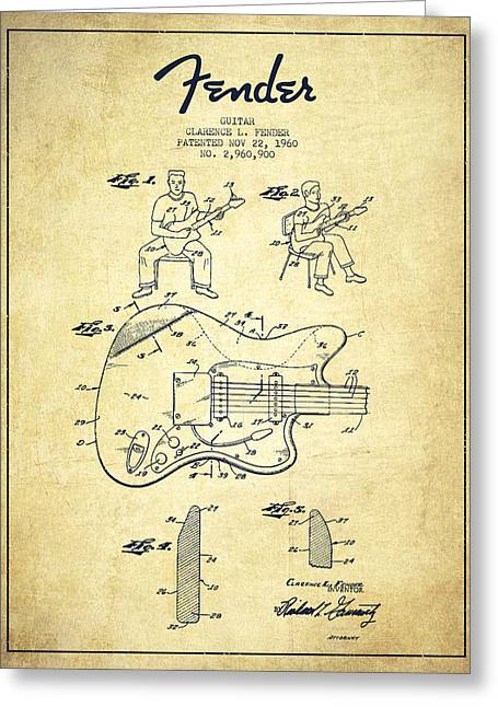 Tremolo Greeting Cards - Fender guitar patent Drawing from 1960 Greeting Card by Aged Pixel