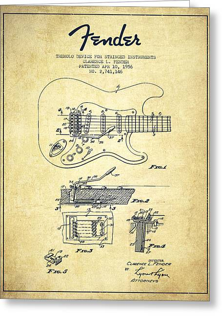 Fender Tremolo Device Patent Drawing From 1956 Greeting Card by Aged Pixel