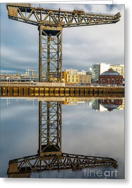 Scotland Landscape Prints Greeting Cards - Finnieston Crane Glasgow Greeting Card by John Farnan