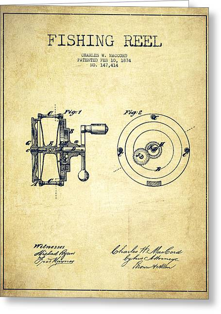 Technical Digital Art Greeting Cards - Fishing Reel Patent from 1874 Greeting Card by Aged Pixel