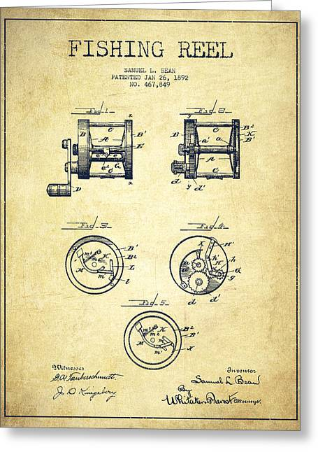 Fly Fishing Digital Art Greeting Cards - Fishing Reel Patent from 1892 Greeting Card by Aged Pixel