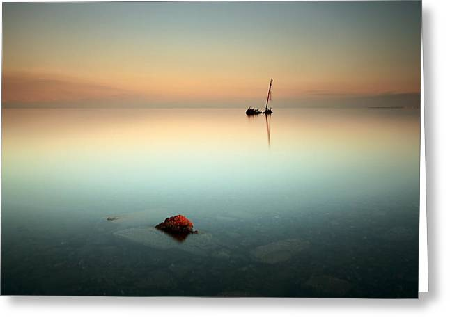 Coastal Prints Greeting Cards - Flat calm shipwreck  Greeting Card by Grant Glendinning