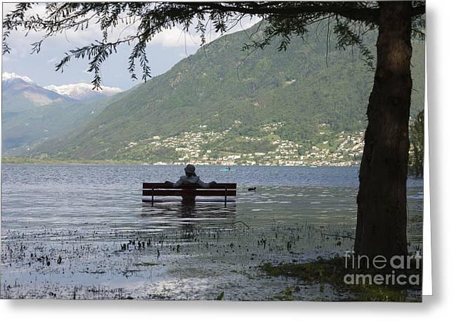 Canoe Photographs Greeting Cards - Flooding lake Greeting Card by Mats Silvan