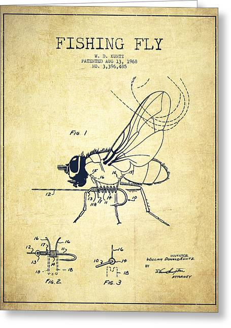 Fly Fishing Digital Art Greeting Cards - Fishing Fly Patent Drawing from 1968 - Vintage Greeting Card by Aged Pixel