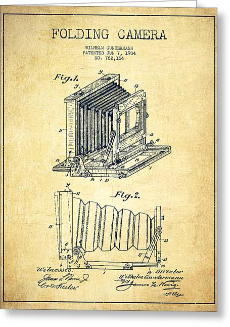 Famous Photographer Greeting Cards - Folding Camera Patent Drawing from 1904 Greeting Card by Aged Pixel