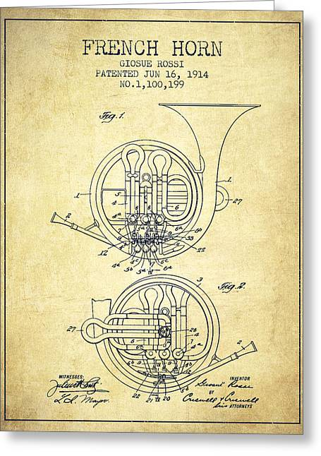 Horns Digital Art Greeting Cards - French Horn Patent from 1914 - Vintage Greeting Card by Aged Pixel
