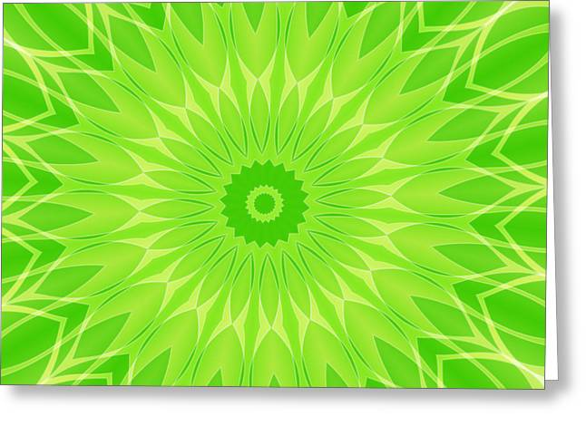 Geometric Image Greeting Cards - Fresh Green Abstract Greeting Card by GP Images