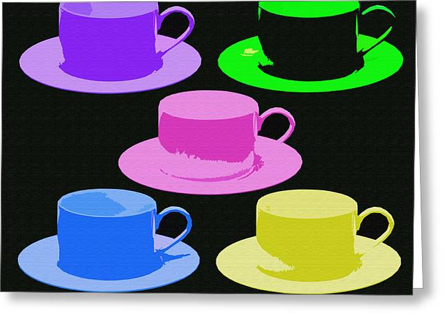Michelle Greeting Cards - 5 Funky Cups Greeting Card by Michelle Orai
