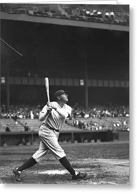 Hitting Greeting Cards - George H. Babe Ruth Greeting Card by Retro Images Archive