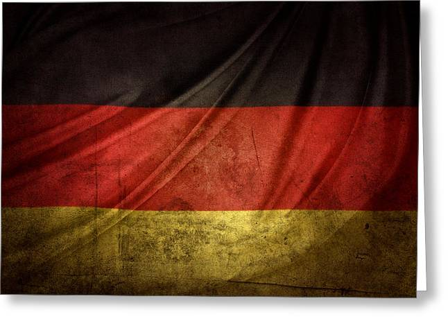 Grunge Photographs Greeting Cards - German flag Greeting Card by Les Cunliffe