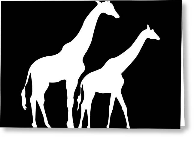 Kids Wall Art Greeting Cards - Giraffe in Black and White Greeting Card by Jackie Farnsworth