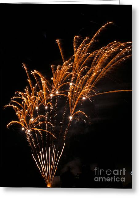 Fire Greeting Cards - Gold Fireworks Greeting Card by Mandy Judson