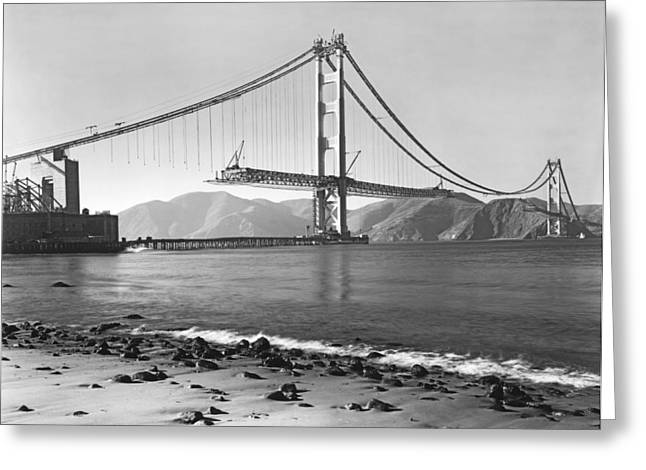 Development Greeting Cards - Golden Gate Bridge Greeting Card by Underwood Archives