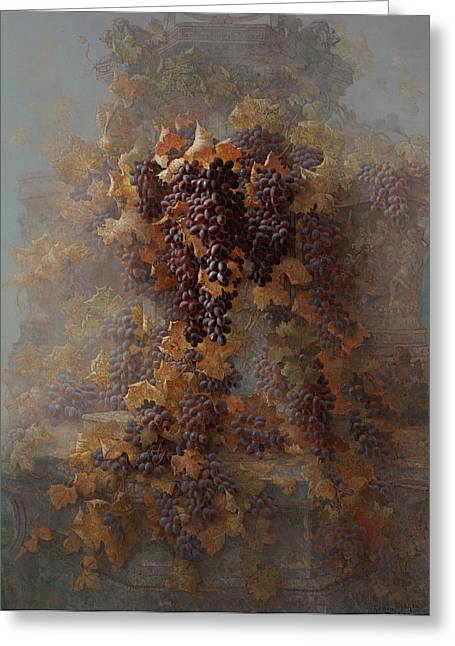 Grapes And Architecture Greeting Card by Edwin Deakin