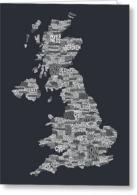 """united Kingdom"" Greeting Cards - Great Britain UK City Text Map Greeting Card by Michael Tompsett"