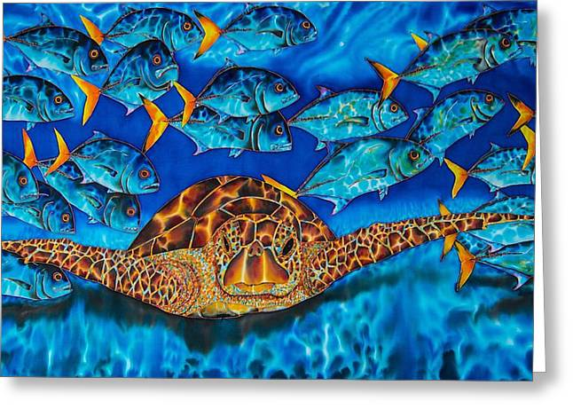 Sea Turtle Greeting Cards - Green Sea Turtle Greeting Card by Daniel Jean-Baptiste