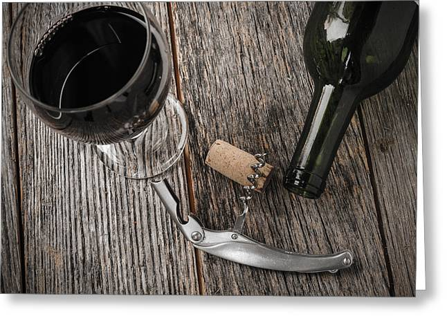 Wine Cork Collection Greeting Cards - Green Wine Bottle and Cork with Red Wine and corkscrew Greeting Card by Brandon Bourdages