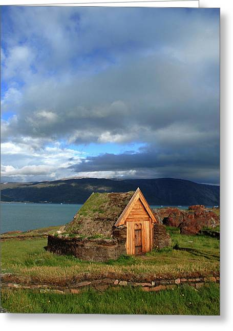 Greenland, Erik's Fjord, Brattahlid Greeting Card by David Noyes