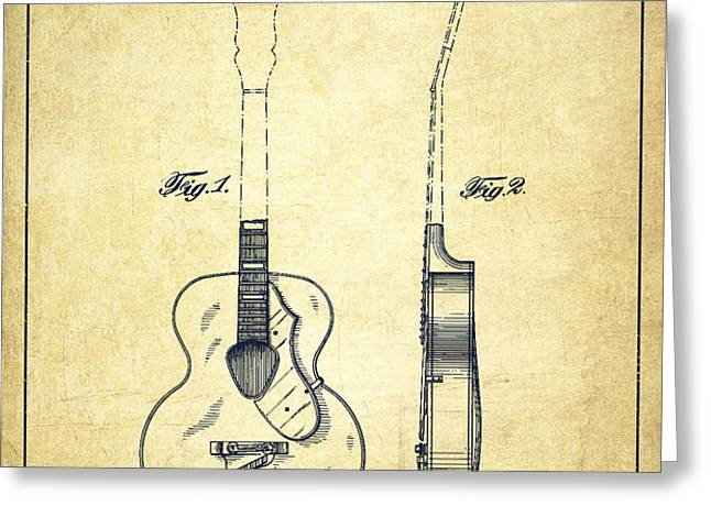 Gretsch guitar patent Drawing from 1941 - Vintage Greeting Card by Aged Pixel