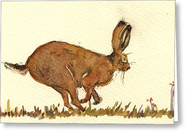 Hare Greeting Card by Juan  Bosco