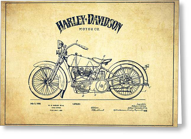 Chopper Greeting Cards - Harley Davidson Motorcycle Cycle Support Patent Drawing From 192 Greeting Card by Aged Pixel