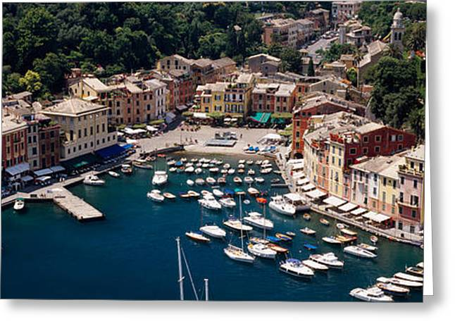 Portofino Italy Greeting Cards - High Angle View Of Boats Docked Greeting Card by Panoramic Images
