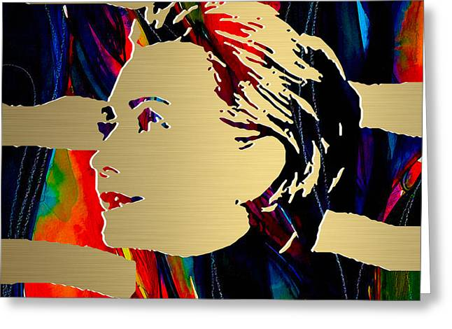 Hillary Clinton Greeting Cards - Hillary Clinton Gold Series Greeting Card by Marvin Blaine